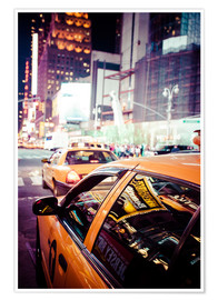Premium poster  Yellow Cabs and city lights