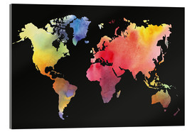 Acrylic print  World map in Watercolor