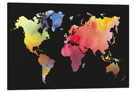 Aluminium print  World map in Watercolor
