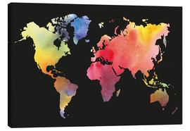 Canvas print  World map in Watercolor