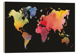 Wood print  World map in Watercolor