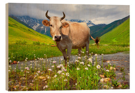 Wood print  Cattle on a mountain pasture