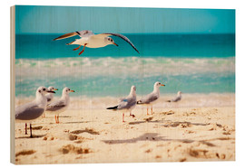 Wood print  seagulls beach