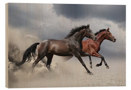 Wood print  Horses in the Storm