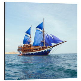 Aluminium print  Vintage Wooden Ship with Blue Sails