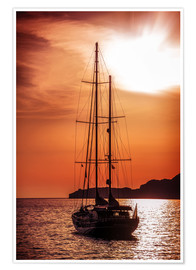 Premium poster  Old ship sailing to the sunset