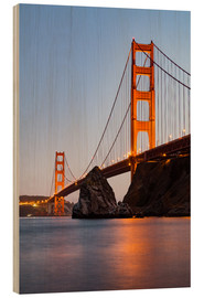 Wood print  ?San Francisco Golden Gate Bridge at sunset