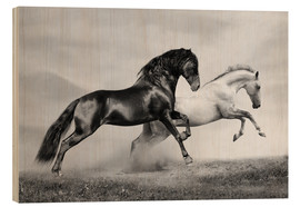 Wood print  Horses black and white