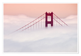 Poster  Golden Gate Bridge in the clouds