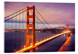 Acrylic print  The Golden Gate Bridge at dusk, San Francisco