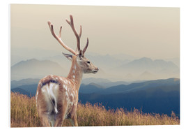 Foam board print  Deer standing on the mountain