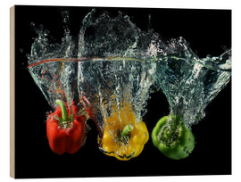 Wood print  Peppers splash