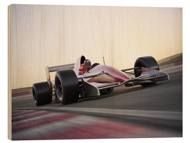 Wood print  F1 racing car in motion