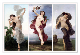 Premium poster  The times of day (Triptych) - William Adolphe Bouguereau
