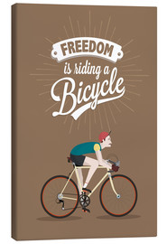 Canvas  Freedom is riding a bicycle - Typobox