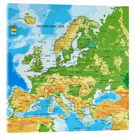 Acrylic glass  Europe map