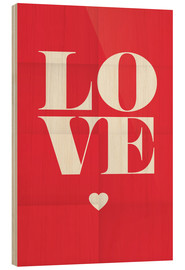 Wood print  Love - Typobox