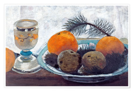 Premium poster  Still life with frosted glass cups, apples and pine twig - Paula Modersohn-Becker