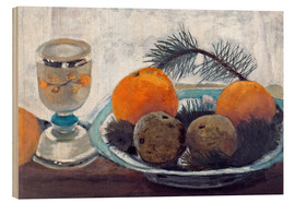 Wood print  Still life with frosted glass cups, apples and pine twig - Paula Modersohn-Becker