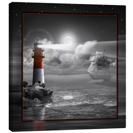 Canvas print  Lighthouse and Sailboat in the Moonlight - Monika Jüngling
