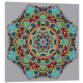 Foam board print  Mandala gray