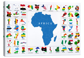 Canvas print  African Countries with Flags