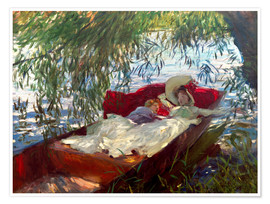Premium poster Two women sleep in a barge under the willows