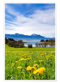 Premium poster Bavarian Landscape with Mountains