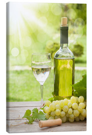 Canvas print  White wine glass and bottle