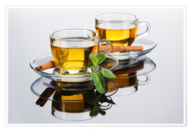 Premium poster  Tea cup with fresh mint leaves