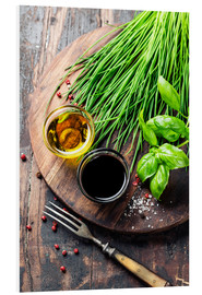 Foam board print  Herbs and spices on wooden board