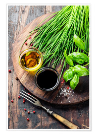 Premium poster  Herbs and spices on wooden board
