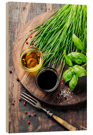 Wood print  Herbs and spices on wooden board