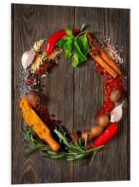 Foam board print  Wreath of spices and herbs