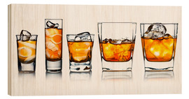 Wood print  alcoholic drinks with natural ice