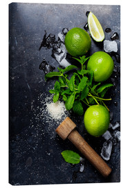 Canvas  Mojitos (ice cubes, mint, sugar and lime)