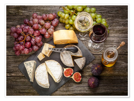 Premium poster Wine and Cheese still life