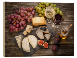 Wood print  Wine and Cheese still life