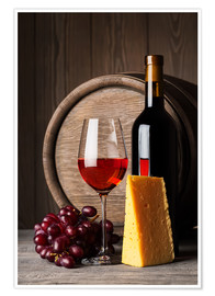Premium poster  Red wine with cheese and grapes