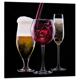 Aluminium print  drinks - beer, wine and champagne