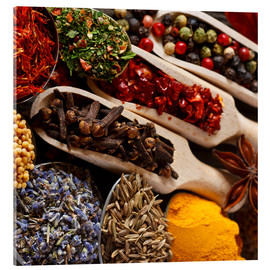 Acrylic print  Colorful spices and herbs