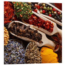Foam board print  Colorful Spices and Herbs