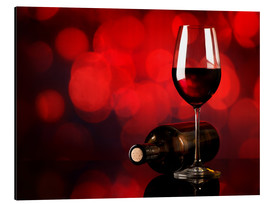 Aluminium print  Red wine in wineglass and bottle