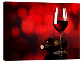 Canvas  Red wine in wineglass and bottle