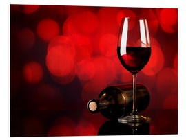 Foam board print  Red wine in wineglass and bottle