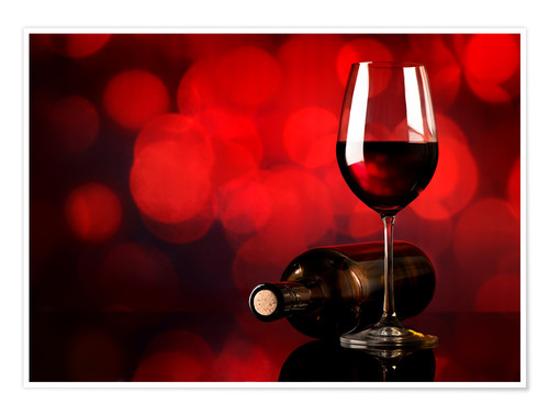 Premium poster Red wine in wineglass and bottle