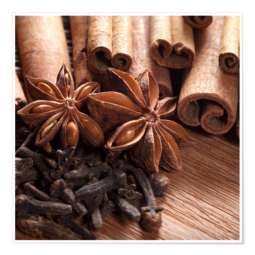 Premium poster Cinnamon on wood