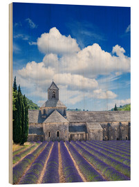 Wood print  Sénanque abbey with lavender field, Provence, France