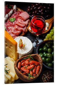 Acrylic print  Antipasti and Red Wine