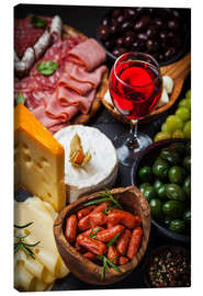 Canvas print  Antipasti and red wine